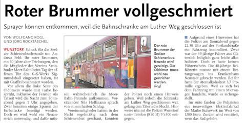 Beschädigter Schienenbus – Rote Reihe setzt Belohnung aus